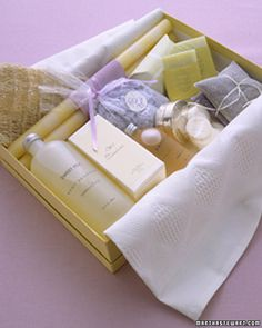 Baby shower idea: Spa Shower. Since the mother-to-be will have little time after baby is born to spoil herself, now is the perfect time for her and her friends to indulge in healthy spa food, nourishing treatments and luxurious bath accessories.