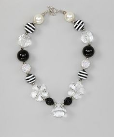 Take a look at this Black & White Star Gem Necklace by Under The Hooded Towels on #zulily today!