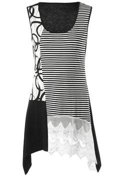 $10.91  Striped Lace Insert Tunic Tank Top - Black