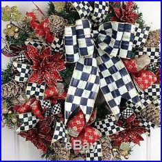 Christmas Wreath MacKenzie Childs Courtly Check Bow Handmade Multicolor Holiday