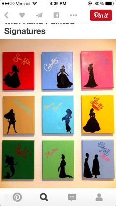 Disney Princess Silhouettes with Signatures by TheGatorPrincess. Custom made for every order! disney Your place to buy and sell all things handmade Deco Disney, Disney Diy, Disney Crafts, Disney Stuff, Canvas Crafts, Diy Canvas, Canvas Art, Canvas Ideas, Princess Canvas