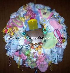 Great instructions for making a diaper wreath.  Someday I might want to try this myself.  So cute & so functional!