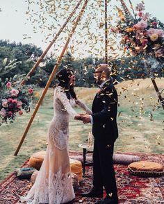 Fall wedding ceremony by Wedding Bells, Boho Wedding, Fall Wedding, Wedding Ceremony, Wedding Flowers, Woodland Wedding, Wedding Season, Dream Wedding, Boho Flower Girl