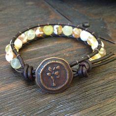 Tree of Life & Gemstone Leather Wrap Bracelet, Boho Chic $30.00
