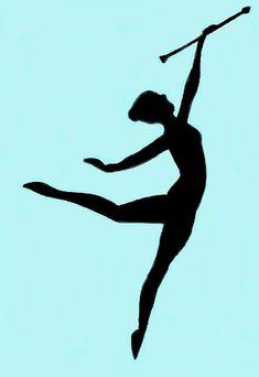 Majorette Silhouette Baton Twirler Girl In Black And