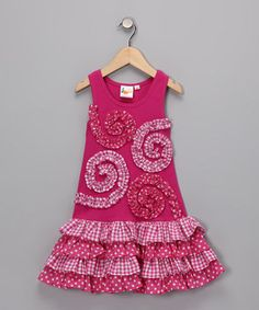 Le Fromage et L'orange-Pink Spiral Drop Waist Dress-As seen on Zulily
