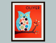 Personalized childrens art. Retro owl print name sign. by Wallfry