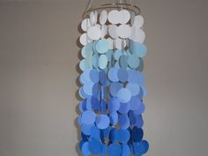 Shades of Blue floating circle paper Mobile. by KraftynKatchy