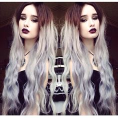 Granny hair, Silver hair color ~ wonderful gray ombre hair color idea~ Brown to Granny Silver Two Color Colored Hair Extensions, Clip In Hair Extensions, Diy Hairstyles, Pretty Hairstyles, Hair Inspo, Hair Inspiration, Coloured Hair, Colored Weave, Grey Ombre Hair