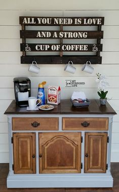 A new coffee bar made from an old buffet. I LOVE the two toned color of this piece. I would use it as a kitchen island - painted with a HomeRight Finish Max.