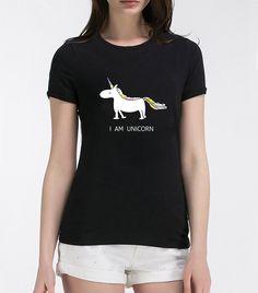 I Am Unicorn T Shirt Women's in Black, White, Gray, Dark Pink, Yellow and Purple S, M, L and XL Sizes