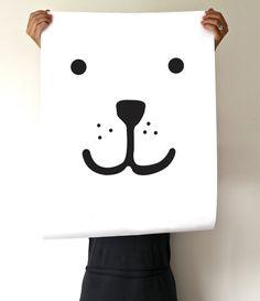 Children Illustration - Teddy - Polar bear - poster black, Kidsinterior / Kidsroom wall art Poster Size: 50 x 70 cm (19.7 x 27.5 inches) The