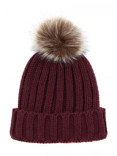 Keep warm and cosy with this trendy winter hat. In a burgundy ribbed knit  with b041afe16d