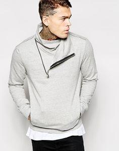 Religion Funnel Neck Sweatshirt With Bias Zip