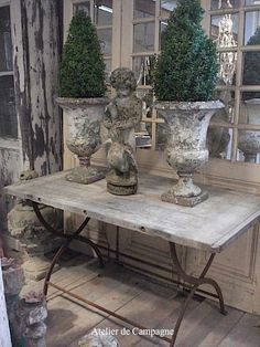 Antique French Urns with Boxwood