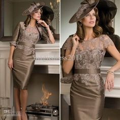 Wholesale Mother of the Bride Dress - Buy 2013 Hot Vintage Style Sheath Brown Satin Crew Ribbon Sash Lace Appliques Knee-Length Mother of the Bride Dresses With Jacket, $129.9 | DHgate