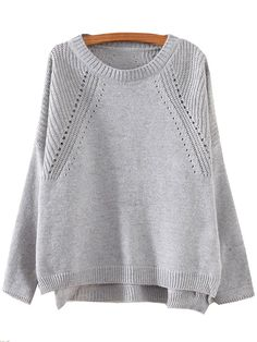 Grey Round Neck Hollow Split Supersoft Knit Sweater , 100% Quality Guarantee!