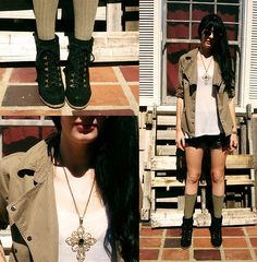 Army Issue Jacket, H&M Tank, Vintage Shorts, Seychelles Booties, H&M Socks