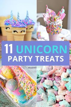 Unicorn party food ideas for your unicorn birthday party! These whimsical unicor… Unicorn party food ideas for your unicorn birthday party! These whimsical unicorn birthday party treats will not disappoint! Birthday Party Treats, Unicorn Themed Birthday Party, Snacks Für Party, Birthday Party Decorations, 5th Birthday, Birthday Ideas, Birthday Party Food For Kids, Kids Party Treats, Party Food Kids