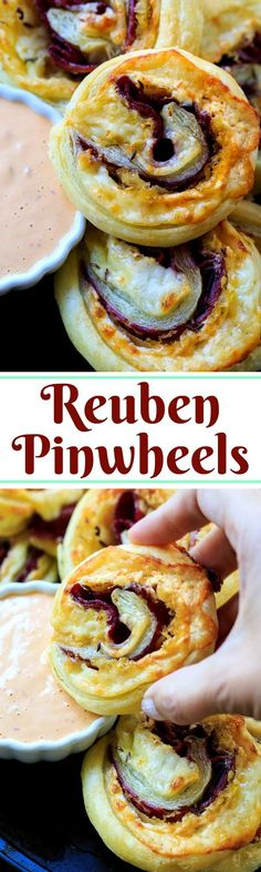 Reuben Pinwheels make a great party appetizer. Corned beef, swiss cheese, and sauerkraut wrapped up in puff pastry.