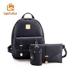 a75279ec2e Fashion Composite Bag Pu Leather Backpack For Women 3 Sets Bag School  Backpacks For Teenage Girls