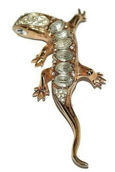 Coro Craft Sterling Rhinestone Lizard Pin Brooch