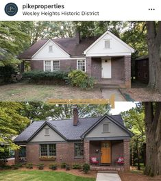 Swipe through the before and after magic of this charming bungalow. Home Exterior Makeover, Exterior Remodel, Interior Exterior, Colonial Exterior, Bungalow Exterior, Home Renovation, Home Remodeling, Cheap Renovations, Villas
