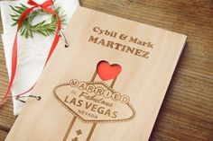 Las Vegas Wedding Guest Book,Custom Wood Wedding Guest Book, Wedding Present…