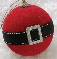 Santa Claus Belt Ornament - I can make that!  Cute to tie on a package or gift bag.