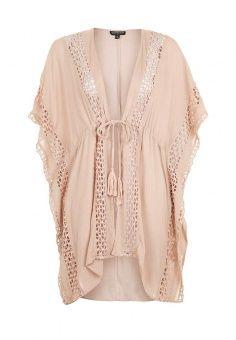 Платье, Topshop, цвет: бежевый. Артикул: TO029EWRMC84. Женская одежда / Платья и сарафаны / Пляжные платья и туники