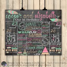 Twins Tribal Boho First Birthday Chalkboard Poster, Camping, Teepee, Dream Catcher, Feathers, Cochella Stats Poster, 1st Bday Facts, DIGITAL by SquishyDesignsbyMe