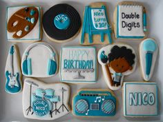 The Arts Cookies~ By Oh Sugar Events, Blue, white, record, drums, radio, guitar