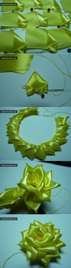 Ribbon Rose Flower Tutorial