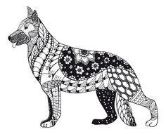 Zentangle Dog I Artist  Midzy kreskami  Adult ColouringCats