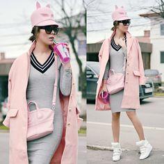 Modainlove Dress, Givenchy Bag, Sheinside Coat, Jessicabuurman Sneakers, Kristina Dragomir Hat