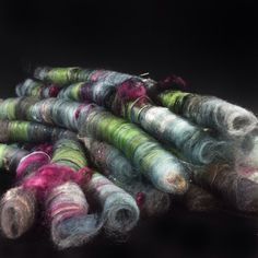 Textured art rolags for spinning 3 oz