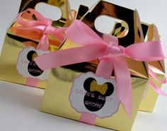 1st Birthday Party Favors Boxes  Pink and Gold Minnie Mouse Gable/ Favor Boxes