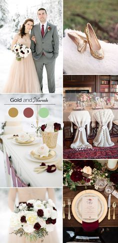 gold and marsala inspired winter wedding color trends 2015