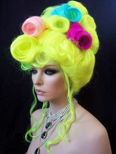 Drag Queen Wig. Multi Colored Neon UpDo.