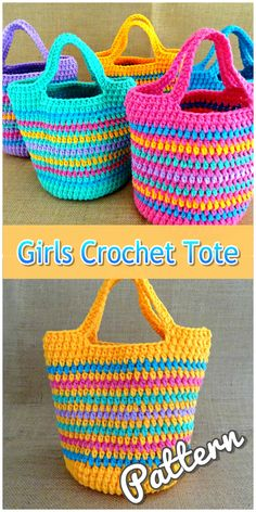 Bright and colourful striped girls crochet tote bag purse. Custom colours and sizes available. Crochet Market Bag, Crochet Tote, Crochet Handbags, Crochet Purses, Knit Crochet, Basic Crochet Stitches, Crochet Basics, Crochet Patterns, Crochet Ideas