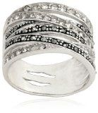 Sterling Silver 6 Row Marcasite and Crystal Ring $35.44