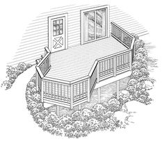 Eplans Deck Plan - Smaller Deck Design with Single Stairway Entry from Eplans - House Plan Code HWEPL74892