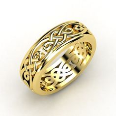 The poetry of the carved walls of the legendary Alhambra Palace inspired the endlessly intricate knot motifs of this ring. gemvara.com