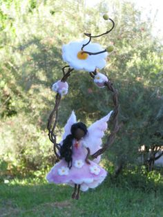 Needle felted Waldorf inspired Magic fairy Mobile von Made4uByMagic