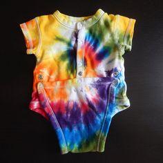 Baby Tie-Dye Long Sleeve One Piece Bodysuit Rainbow Spiral