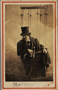 """Nadar, Self portrait. To learn more about Nadar and ballooning, read Julian Barnes' """"Levels of Life"""". Well, read all of Julian Barnes. It can't hurt."""