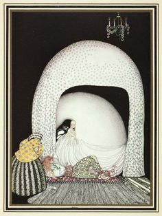 """Kay Nielsen in East of the sun and west of the moon """"And this time she whisked off the wig; and there lay the lad, so lovely, and white and red, just as the Princess had seen him in the morning sun. Kay Nielsen, Edmund Dulac, Arthur Rackham, Art Nouveau, Art Deco, Sun Illustration, Book Illustrations, Botanical Illustration, East Of The Sun"""