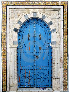 Traditional arab door in the city of Sidi Bou Said in Tunis