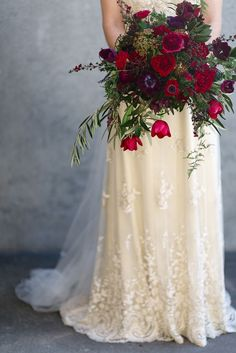 Elegant Ivory and Crimson Winter Bridal Bouquet | Natalie McNally Photography