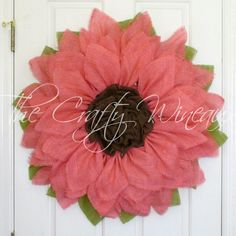 Just sold! Get your house ready for #Spring with a #Burlap #Sunflower #Wreath today! By #TheCraftyWineaux. Also on thecraftywineaux.com!